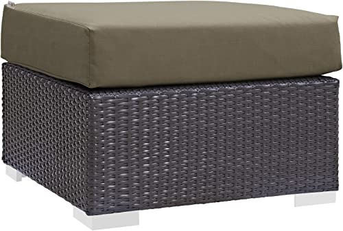 Modway EEI-1911-EXP-MOC Convene Patio Fabric Square Ottoman Outdoor Furniture, Espresso Mocha