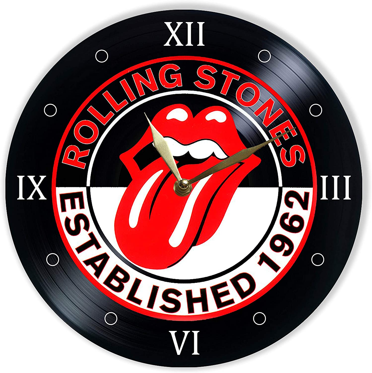 "Leooolukkin The Rolling Stones Vinyl Clock 12"", Wall Clock Painted The Rolling Stones, Original Gifts, The Best Gift for Music Lovers, Unique Wall Art Home Decor"