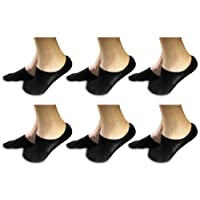 Super Soft Cushioned Sole Bamboo No Show Socks for Men 6 Pack Non Slip Silicone Grip by Stomper Joe