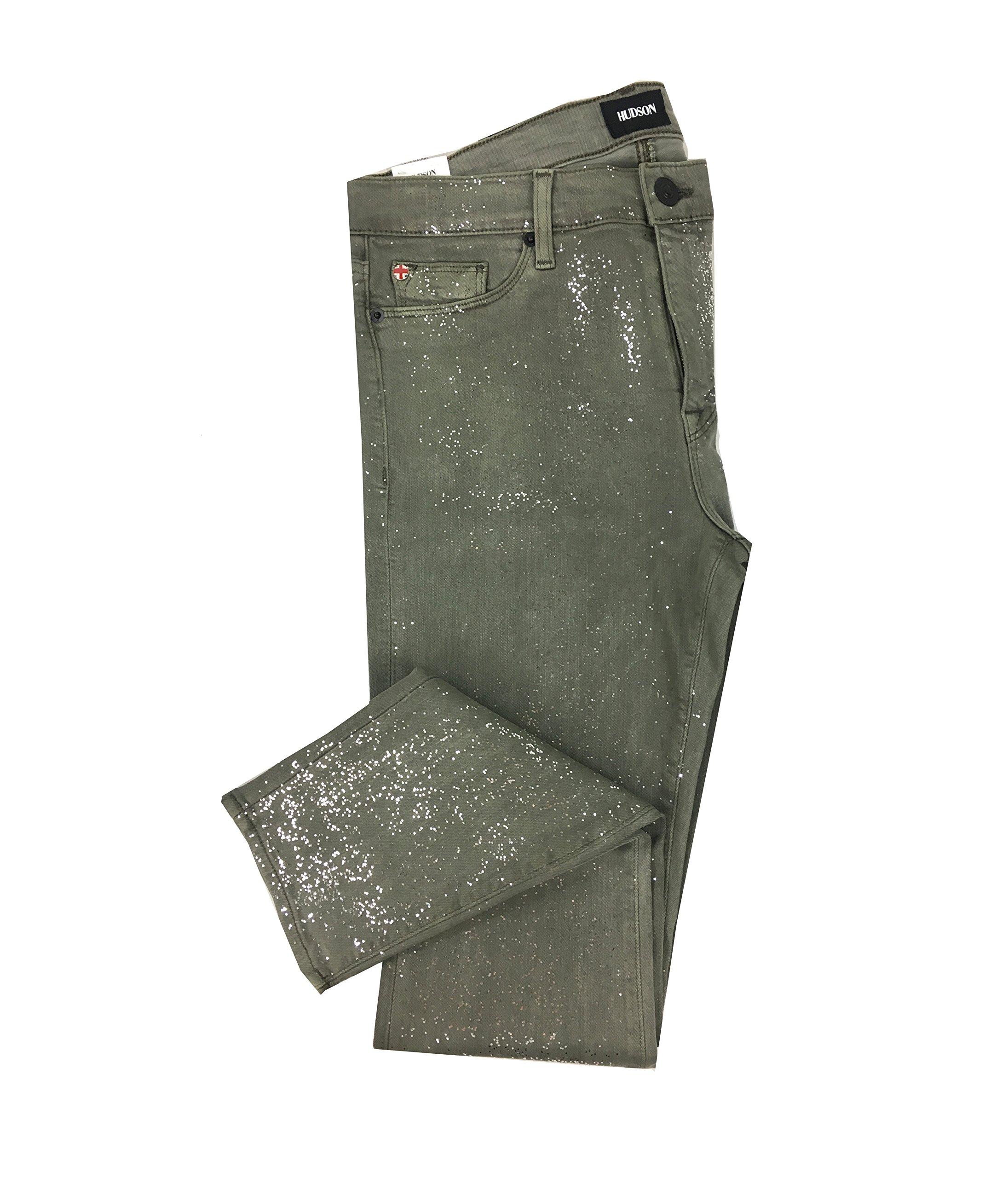Hudson Women's Nico Midrise Ankle Super Skinny Glitter Jeans (31, Trooper Green)