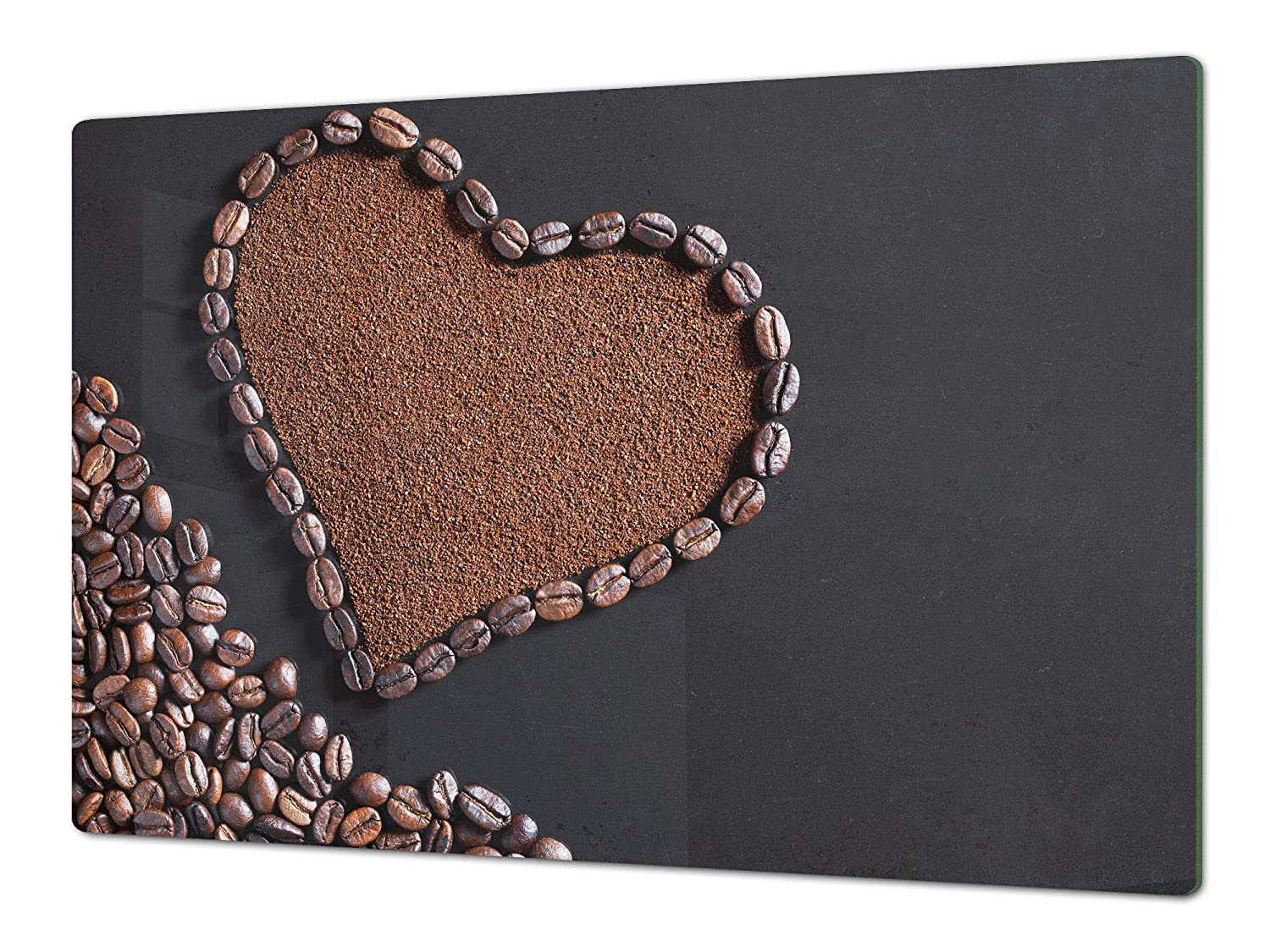 Heart from coffee 80x52 HUGE Cutting Board – Worktop saver and Pastry Board – Scratch & Shatter Resistant Glass Kitchen Board; MEASURES  SINGLE  80 x 52 cm (31,5  x 20,47 ); DOUBLE  40 x 52 cm (15,75  x 20,47 ); Coffee series DD07