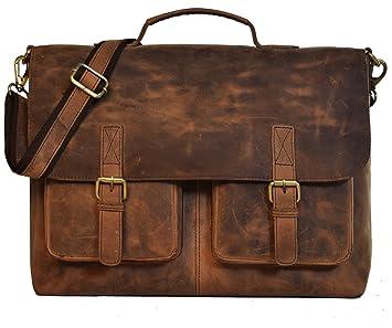 "kk/'s 16"" Inch Retro Buffalo Hunter Leather Laptop Messenger Bag Office Briefcase"