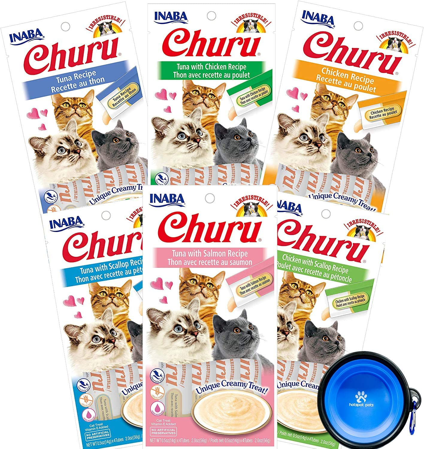 INABA Churu Lickable Purée Wet Treat for Cats - No Grains, No Preservatives, with Added Vitamin E and Green Tea, Bundle with Hotspot Pets Collapsible Bowl - 6 Flavor Pack of 24 Tubes