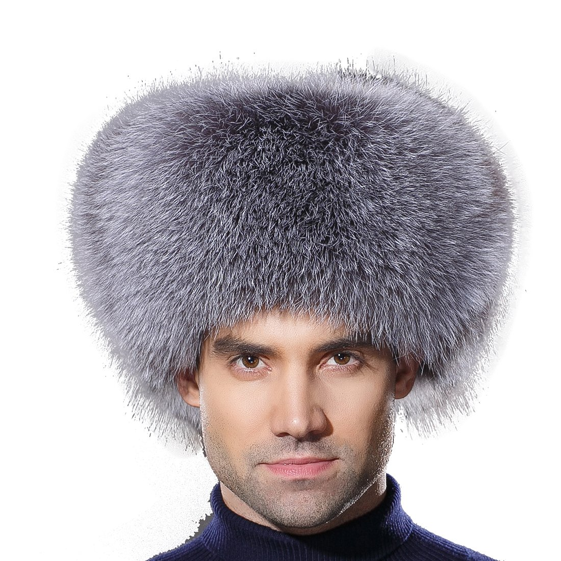 URSFUR Winter Men Fur Hat Real Silver Blue Fox Fur Russian Ushanka Trapper Cap by URSFUR
