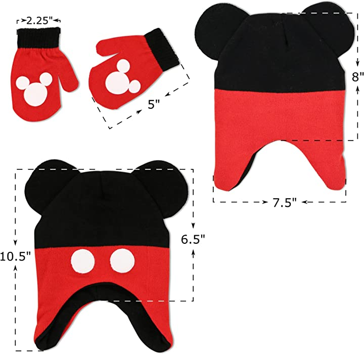 97d7dbb43e5 ... Disney Toddler Boys Mickey Mouse Clubhouse Character Hat and Mitten  Cold Weather Set