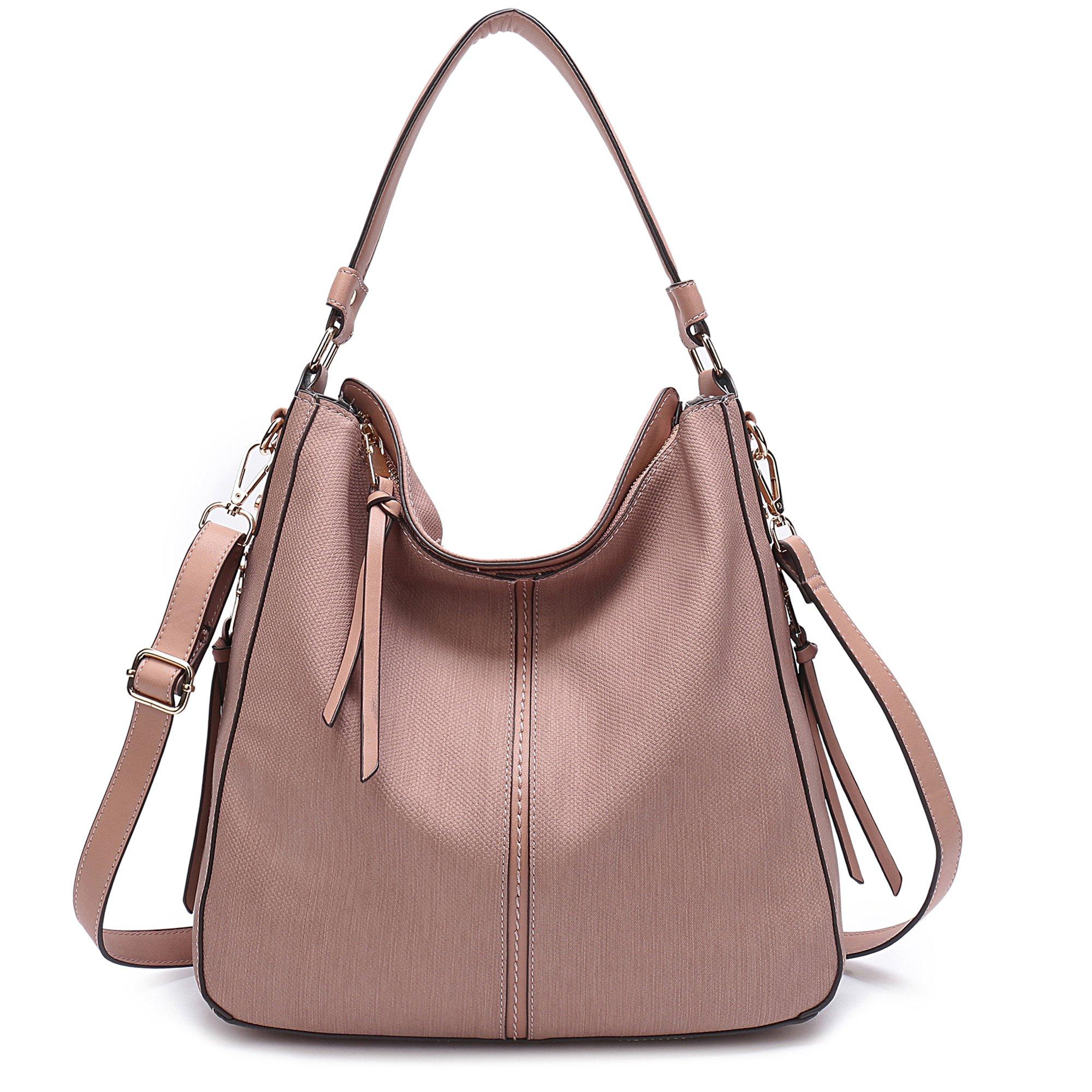 DDDH Vintage Hobo Handbags Shoulder Bags Durable Leather Tote Messenger Bags Bucket Bag For Women/Ladies/Girls (Pink-1)