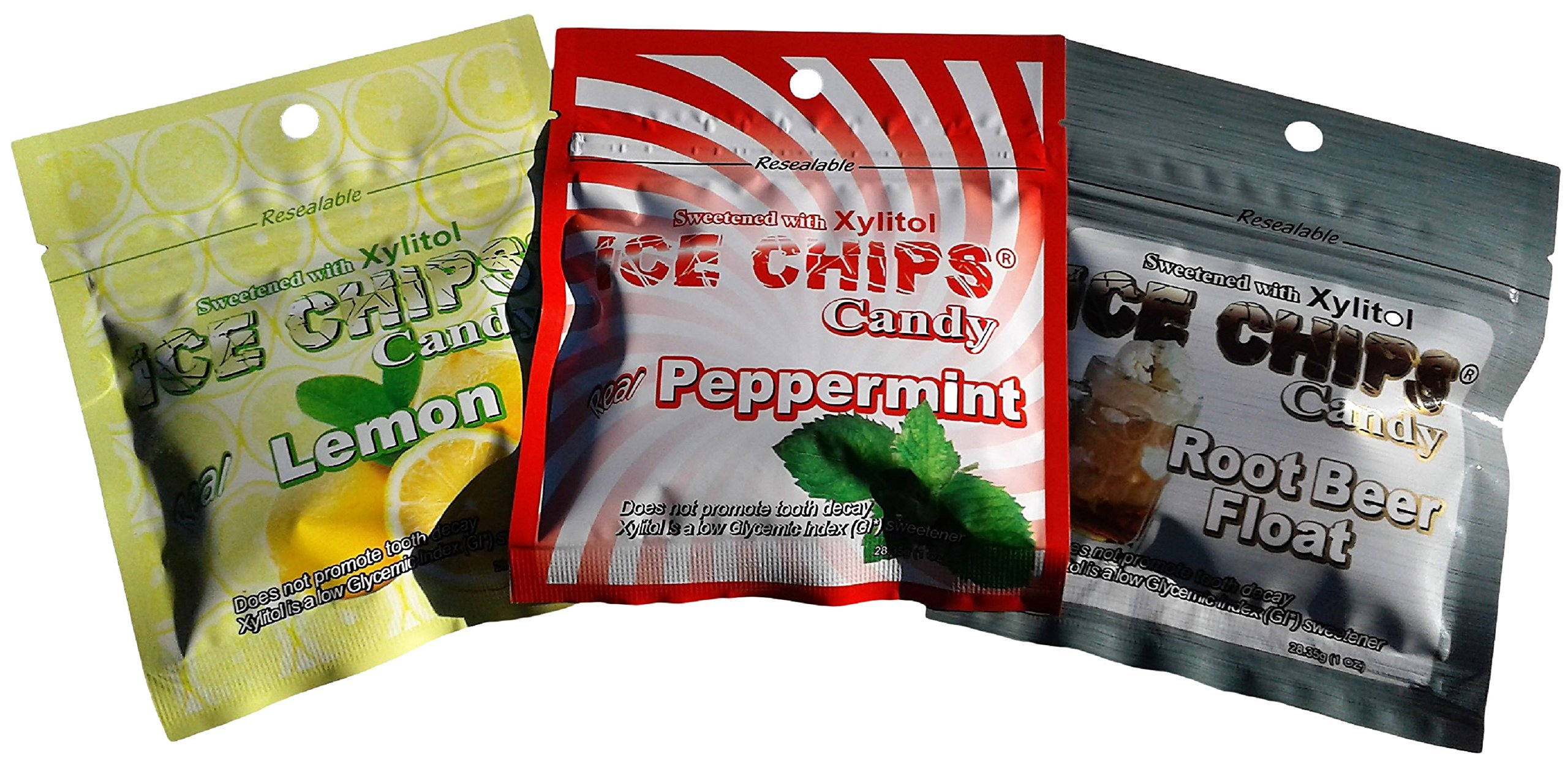 New! Ice Chips Candy in Packets - 3 Pack Variety of Lemon, Peppermint & Root Beer