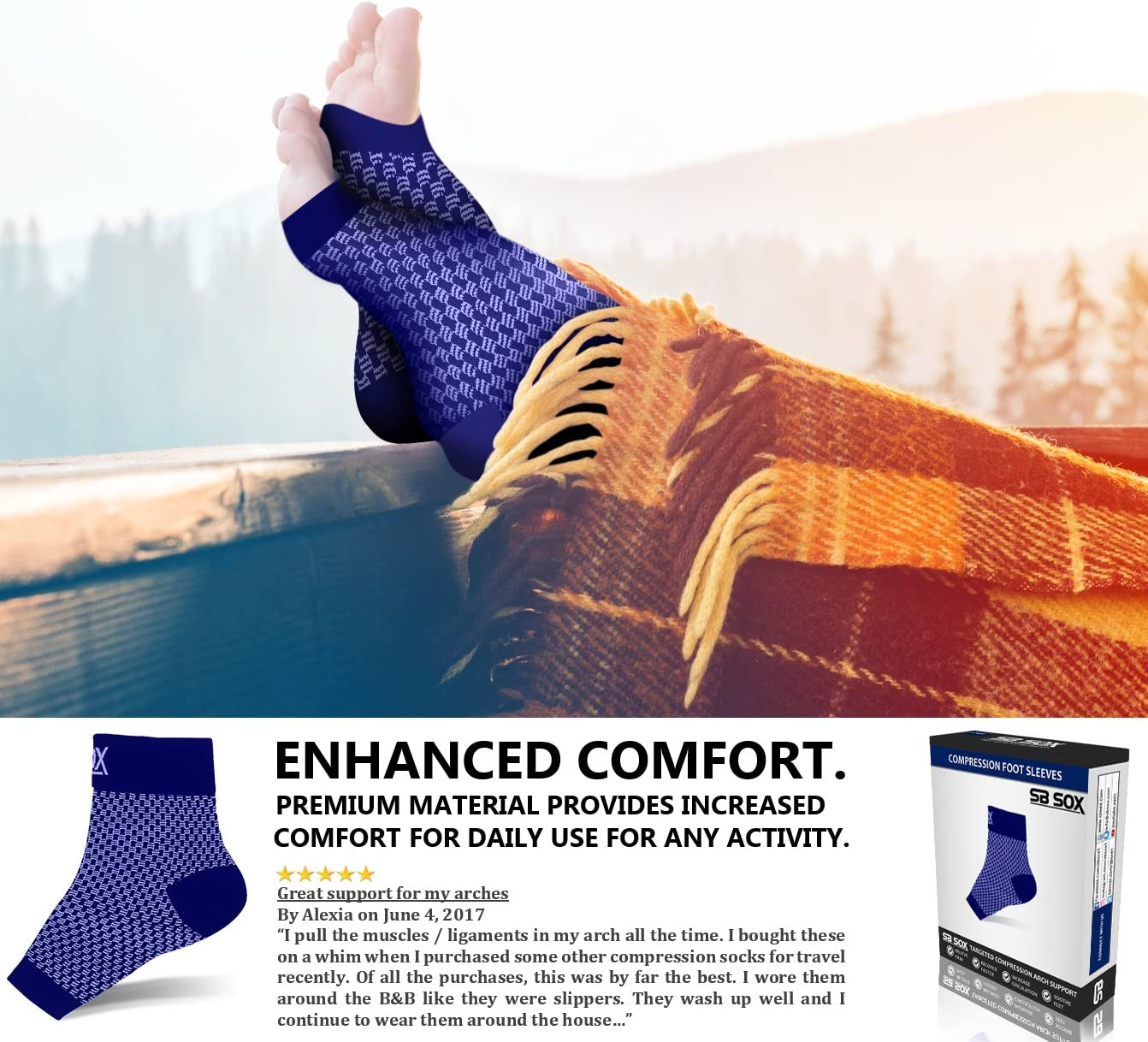 SB SOX Compression Foot Sleeves for Men & Women - BEST Plantar Fasciitis Socks for Plantar Fasciitis Pain Relief, Heel Pain, and Treatment for Everyday Use with Arch Support (Navy, Medium) : Health & Personal Care