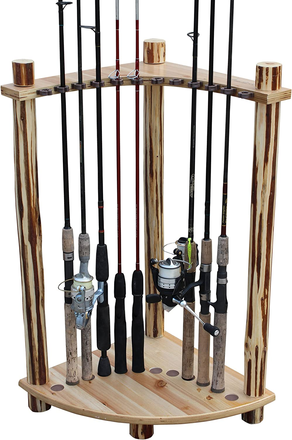 Rush Creek Creations Rustic Log 12 Fishing Rod Storage Corner Rack – Handcrafted Solid Pine – No Tool Assembly
