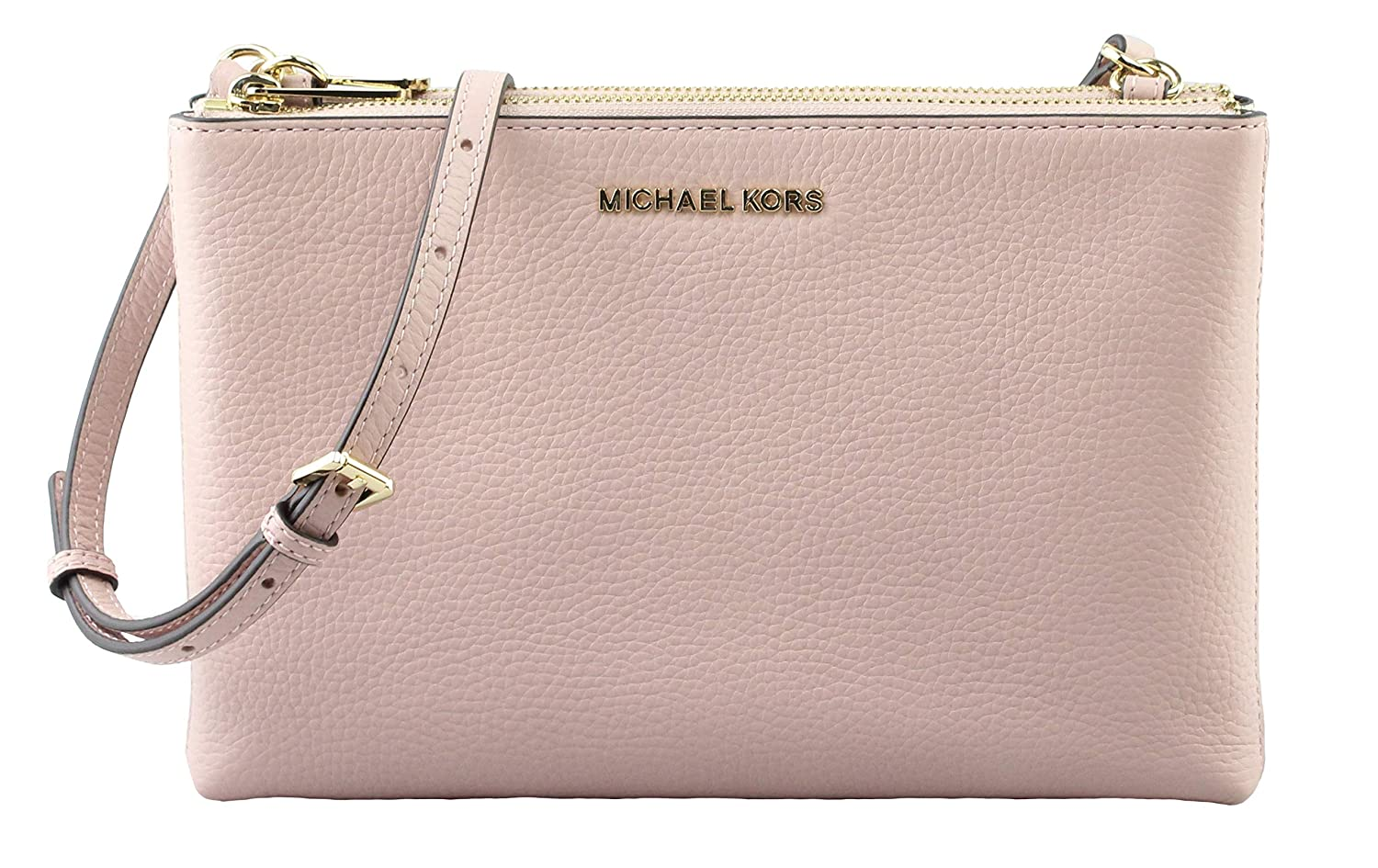 ff92411ca546 Michael Kors Jet Set Travel Double Zip Gusset Signature Crossbody Vanilla  Pastel Pink PVC  Handbags  Amazon.com