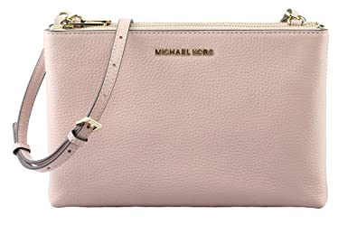 d0c989688be436 Image Unavailable. Image not available for. Color: Michael Kors Jet Set  Travel Double Zip Gusset Signature Crossbody Vanilla Pastel Pink PVC