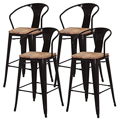 Amazoncom Metropolis Metal Bar Stool 30 Wood Seatindooroutdoor