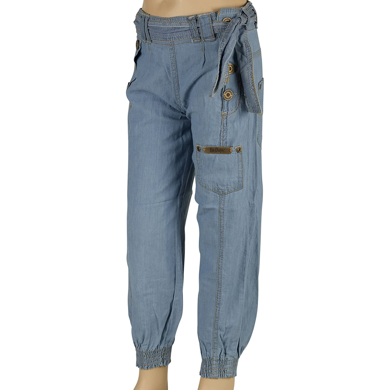 Lee Cooper Designer Girls Denim Jeans Casual Fashion Trousers Pants Cuffed Ankle