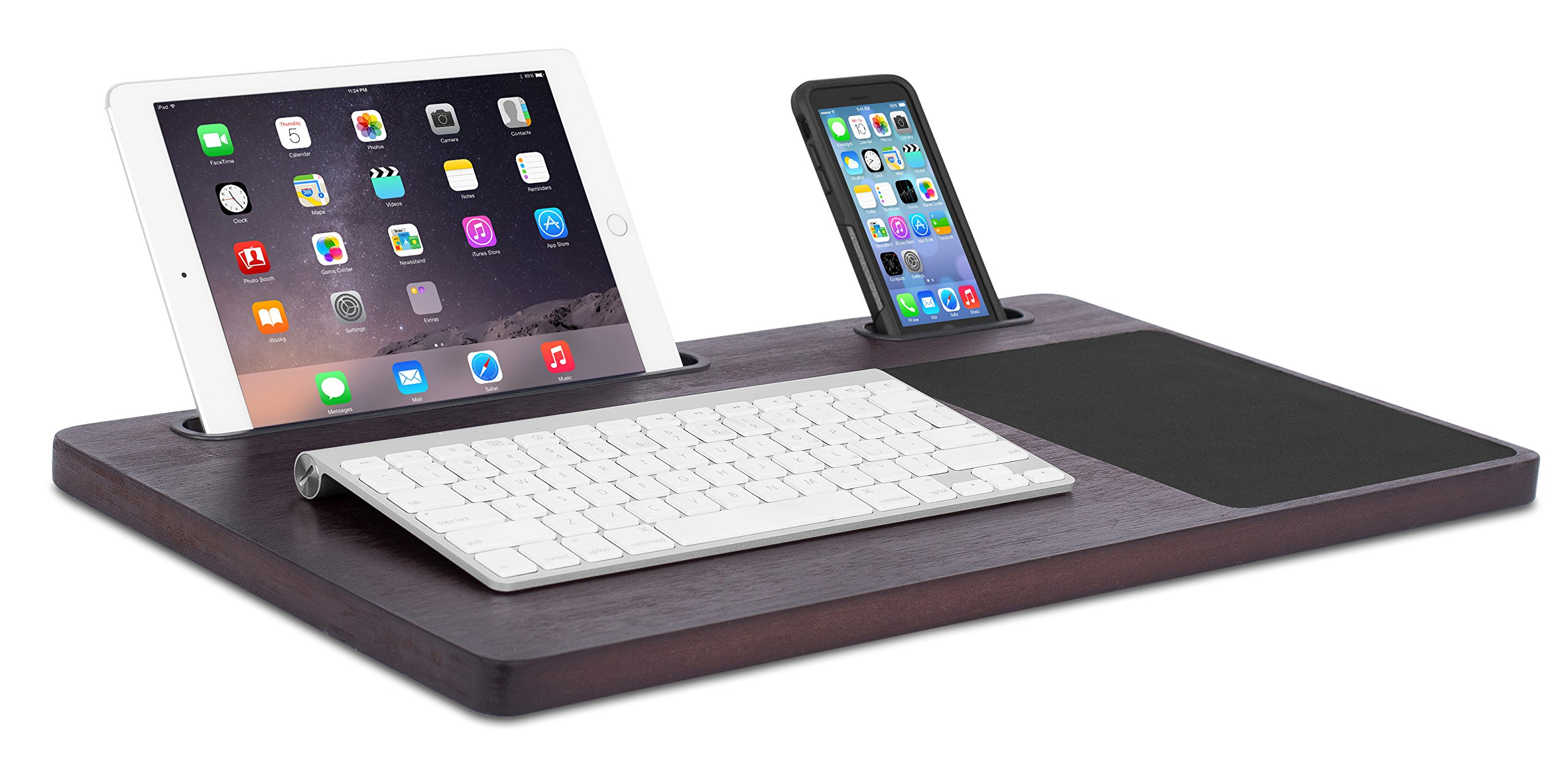 Sofia + Sam Bamboo Laptop Lap Desk Board | Multi Tasking Bed Tray Board | Lap Tray with Tablet Phone Slot & Mouse Pad | Serving Bed Tray | Walnut