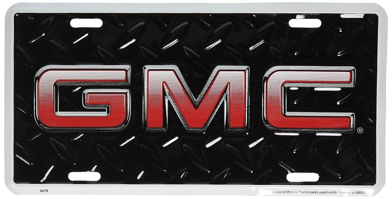 Amazon.com: GMC Diamond Embossed background metal auto tag 6 x 12 ...
