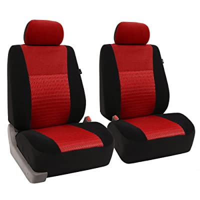 FH Group FB060RED102 Red Deluxe 3D Air Mesh Front Seat Cover, Set of 2 (Airbag Compatible): Automotive