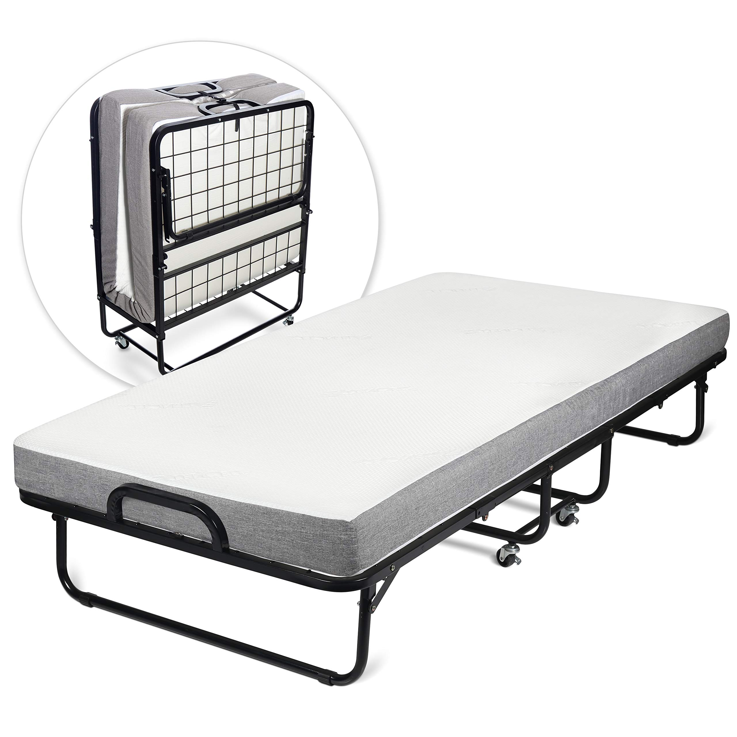 Milliard Diplomat Folding Bed - Twin Size - with Luxurious Memory Foam Mattress and a Super Strong Sturdy Frame - 75'' x 38