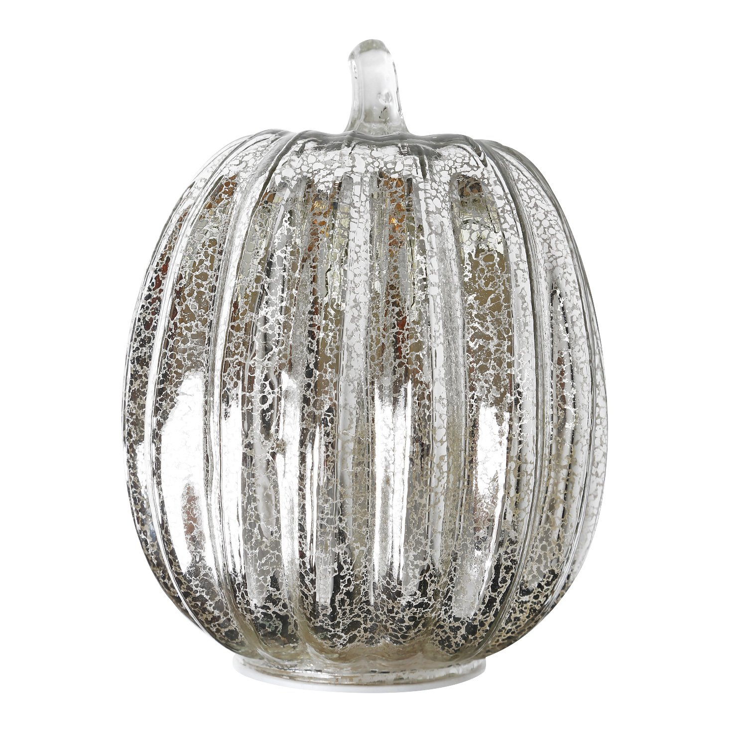 Romingo Mercury Glass Lighted Pumpkin with Timer for Fall and Home Decor, Silver, 7.5 inches
