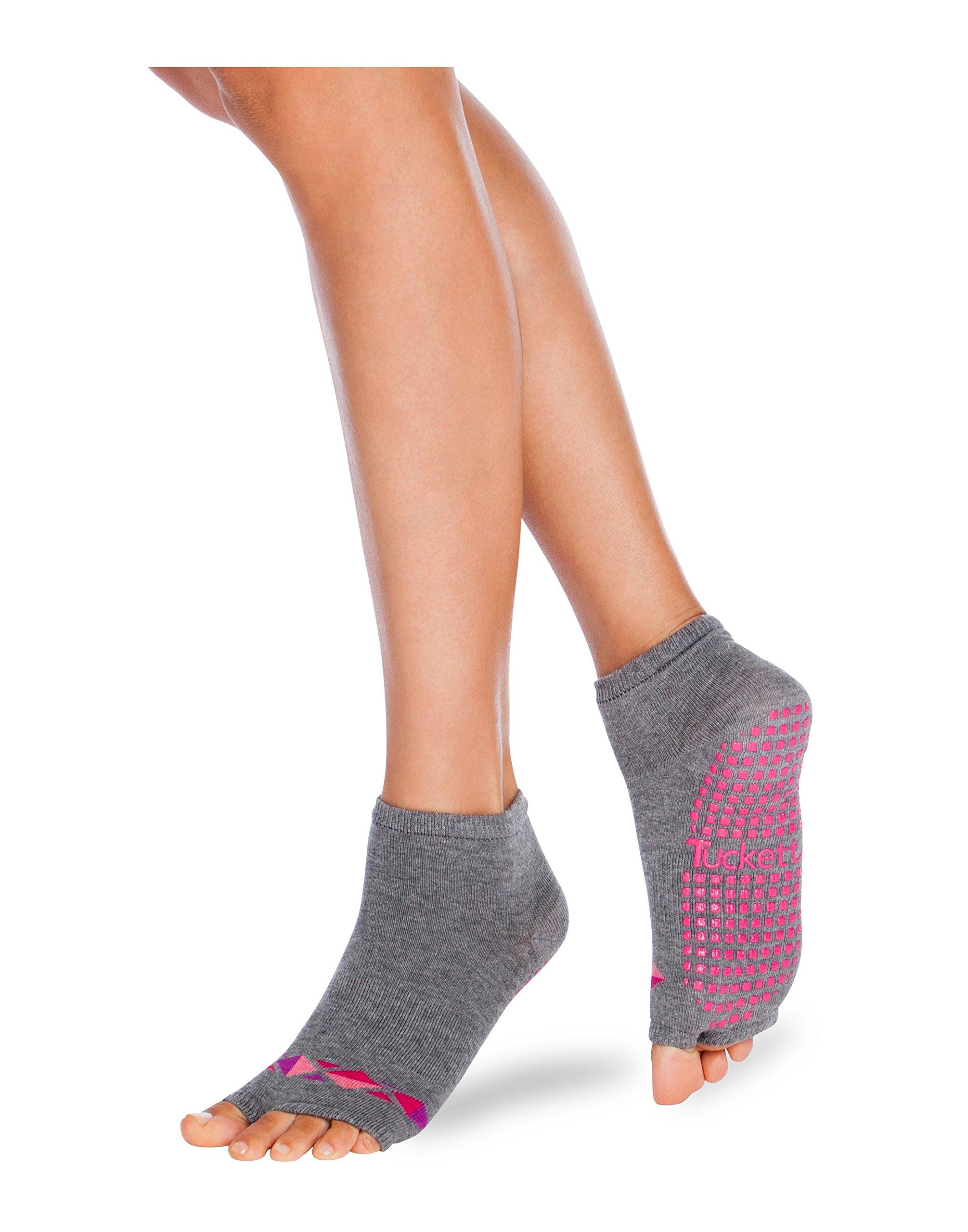 Tucketts Womens Yoga Socks, Toeless Non Slip Skid Grippy Low Cut Socks for Yoga, Pilates, Barre, Studio, Bikram, Ballet, Dance - Anklet Style (Moli Grey/Pink)