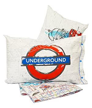 Biber Bettwäsche London Underground Made In Italy Dicht Gewebte