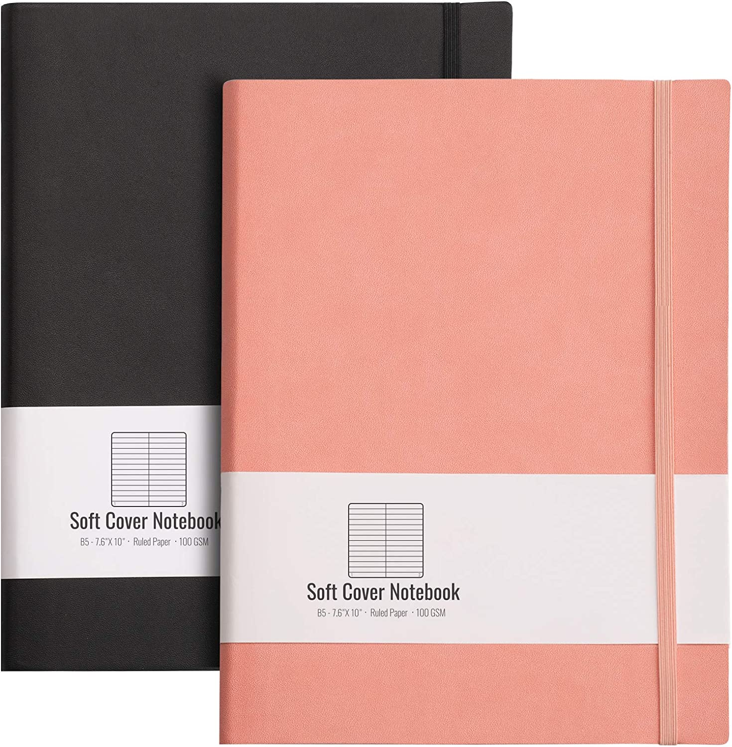 RETTACY Journals to Write in for Women 2 Pack- B5 Large Journal Notebook with Soft Leather Cover,100gsm Thick Lined Paper,408 Pages,7.6 X 10
