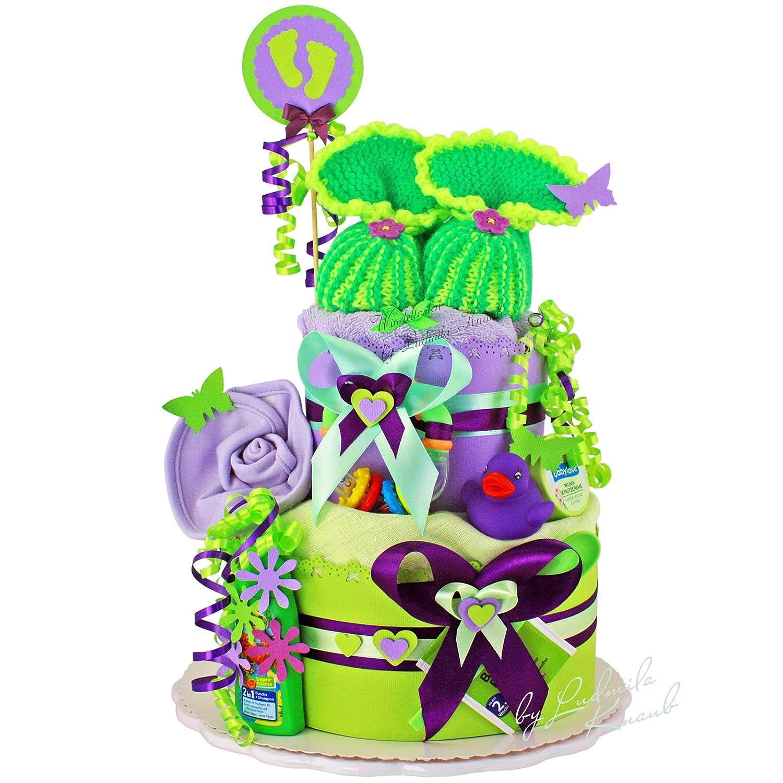 Gâteau de couches pour bébé dans un beau violet - Vert Argile//Cadeau Original et Pratique avec Allumez.//Cadeau pour la naissance, baptême, baby shower: ...