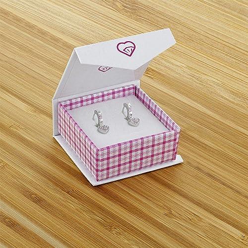 Pour petites filles Breloque en forme de c/œur Argent sterling 925/et zircon cubique 0,8/cm Boucles doreilles cr/éoles