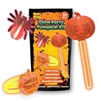 PartySticks Glow Party Pumpkin Kit Halloween Toys Party Favors for Kids- 24pk Glow in The Dark Halloween Decorations - 15 Glow Sticks, 3 Fake Bug Critters, 3 Wand Toppers, 3 Glow Bracelet Connectors