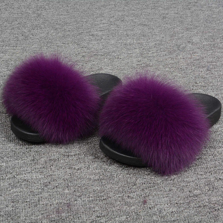 Purple Blingbling-honored High end Real Fox Fur Slipper Women Slides Sliders Fashion Spring Summer Autumn Fluffy Fur Lady S6018