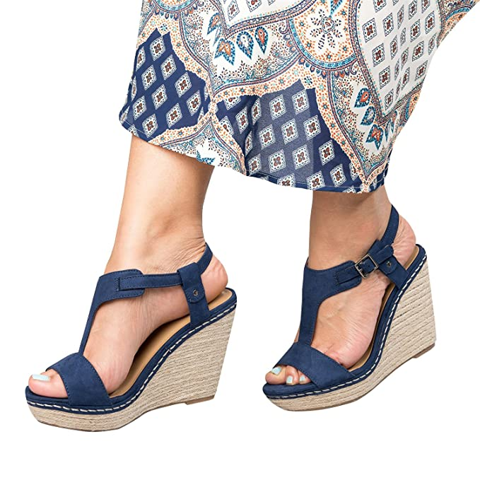 c70033bcc4c Enjoybuy Womens T Strap Espadrille Sandals Peep Toe Cut Out Platform Wedges  Casual High Heel Shoes