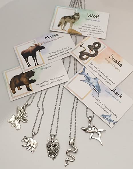 Smiling Wisdom - Boys Totem Animal Necklace Gift Sets - Wolf, Bear, Moose,  Snake, Shark - 5 Spirit Animal Totem Gifts - Children, Tweens, Teens, Party