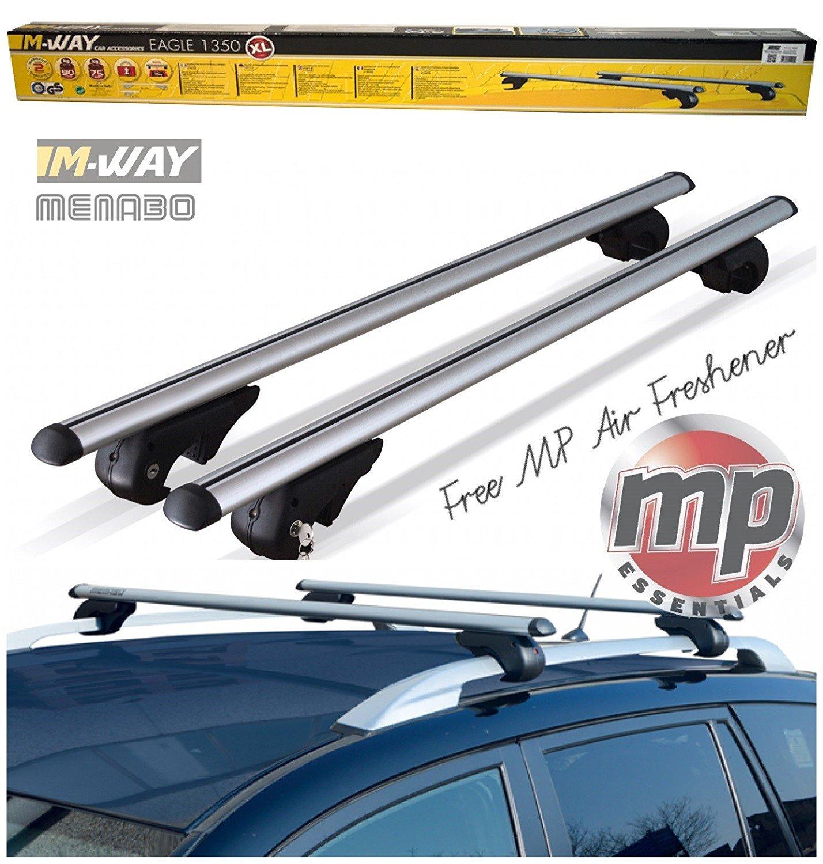 MP Essentials 135cm Lockable Aluminium Roof Rack Rail Bars to fit Jeep Renegade 2014> (+ FREE MP AIR FRESHENER)