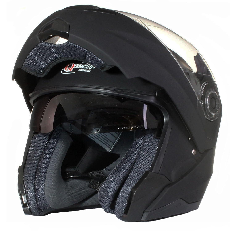 Gloss White Qtech MODULAR Flip-Up Front Motorcycle Helmet DOUBLE Visor DVS XS 53-54cm
