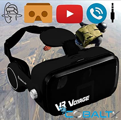 COBALTX 360 Video VR Headset 360 Virtual Reality Glasses For iPhone Android  Smartphone VR Box 3D VR Headset Glasses with Built in Stereo Headphones