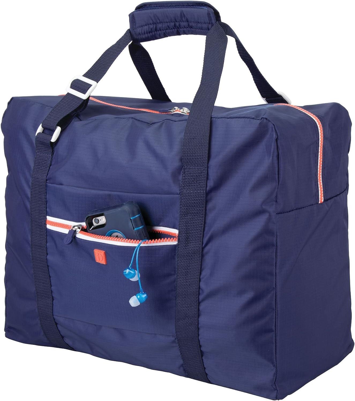 mDesign Bolsa de Viaje – Ligera Maleta de Cabina con Cremallera y Asas, Ideal como Equipaje de Mano para Viajar en avión – Adecuada también como Bolso de Deporte – Azul Marino/Blanco/Naranja