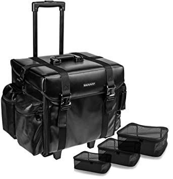 df71e37aa9e6 SHANY Cosmetics Soft Black Makeup Artist Rolling Trolley Case with Free Set  of Mesh Bags, Leather Match