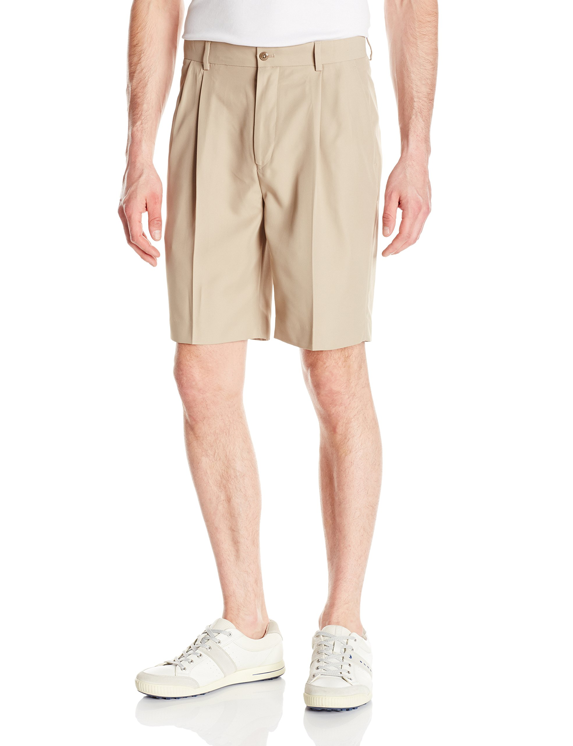 Louis Raphael Men's Pleated Performance Soil Wicking Golf Short, Khaki, 40W by Louis Raphael