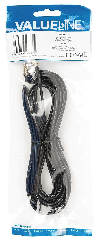 Valueline VGSP02010B50 - Cable coaxial (SMA, SMA, 5 m, Macho/Hembra, 50 Ω, 70 mm): Amazon.es: Electrónica