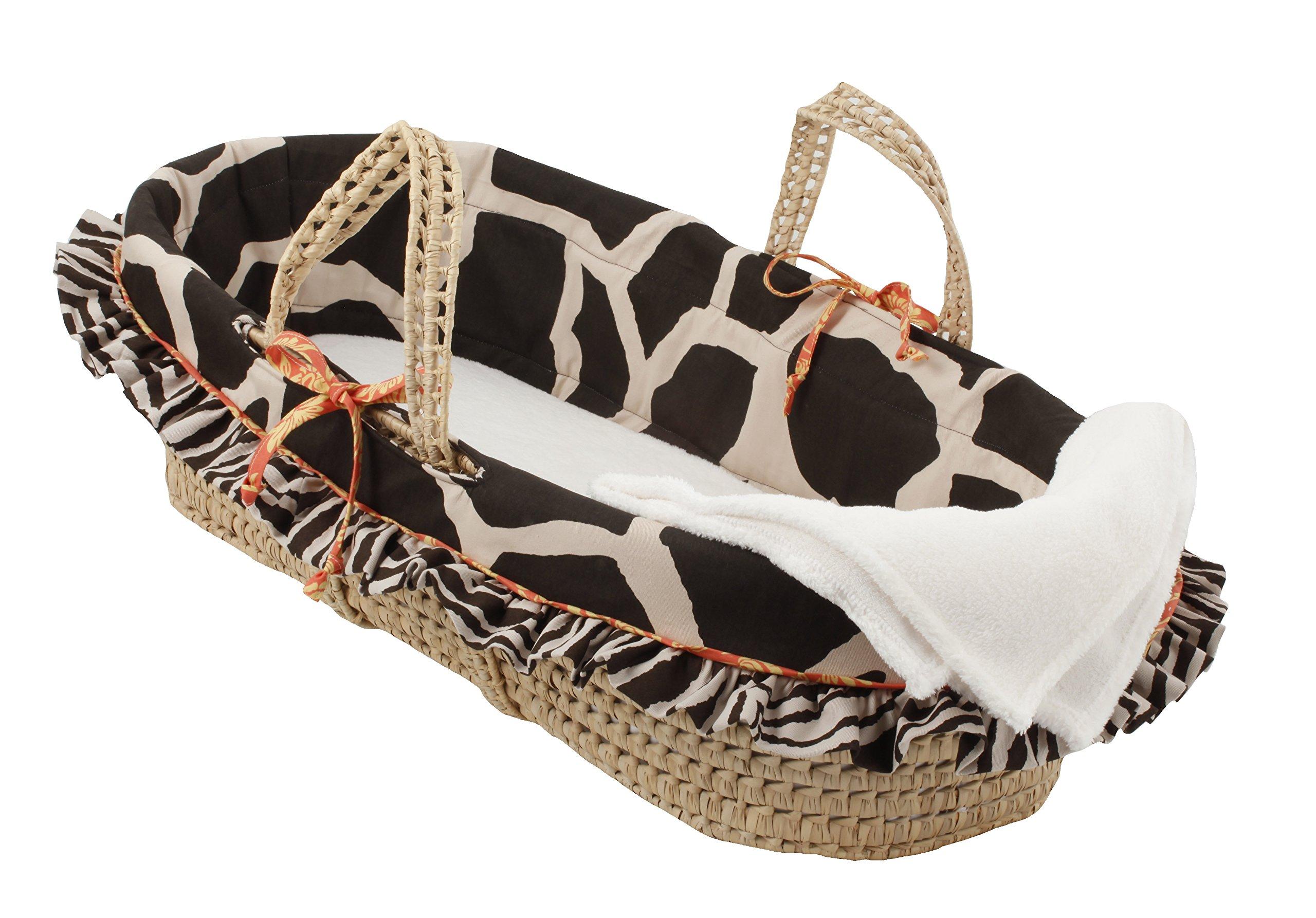Cotton Tale Designs 100% Cotton Sumba Jungle Animal Print Giraffe & Zebra Safari Unisex Girl & Boy Wicker Moses Basket