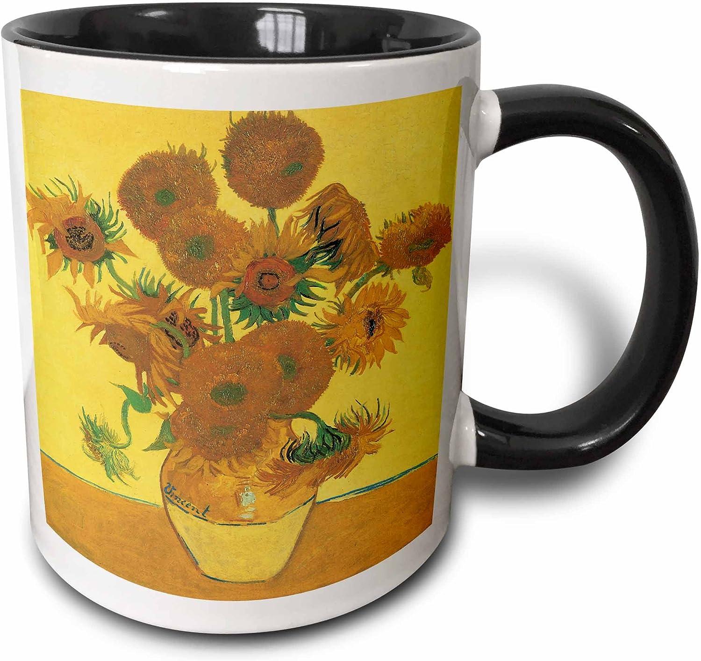3dRose Vase With Fifteen Sunflowers By Vincent Van Gogh Impressionist Still Life Mug, 11 oz, Black