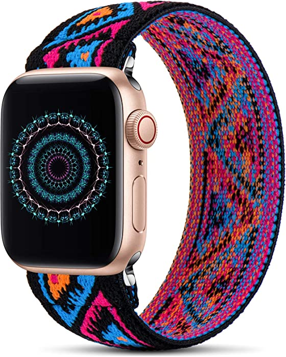 GeekSpark Elastic Band Compatible for Apple Watch Bands 38mm 40mm 42mm 44mm Stretchy Loop Strap Replacement Wristband for iwatch Series 6/SE/5/4/3/2/1 (Colorful TriangleS/M 42mm/44mm)