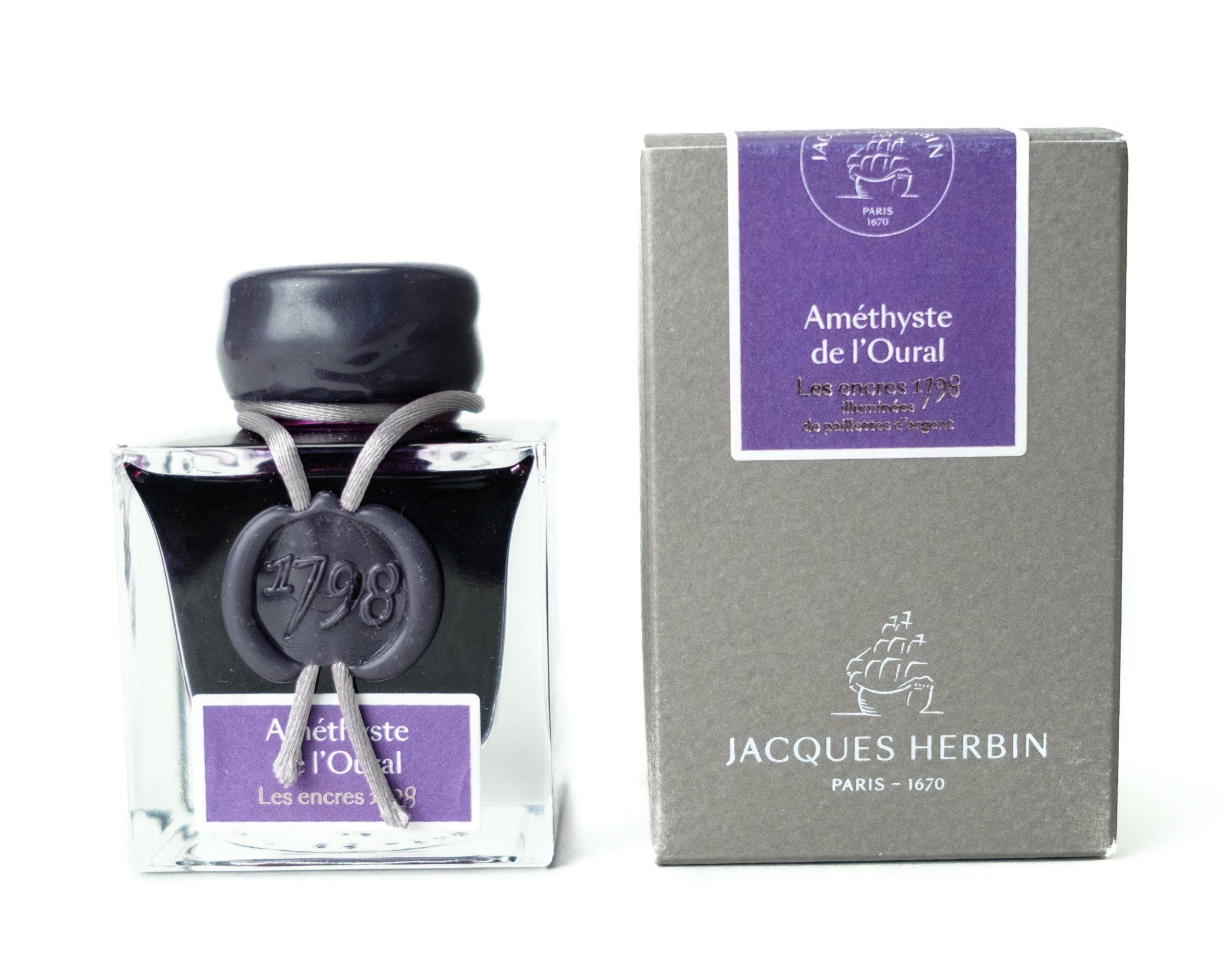 J. Herbin 1798 Anniversary Inks - Silver Sheen 50 ml Bottled - Amethyste de L'Oural (Rich Deep Purple Ink) by Herbin (Image #2)