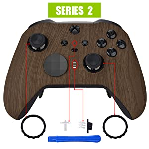 eXtremeRate Wood Grain Patterned Faceplate Cover, Soft Touch Front Housing Shell Case Replacement Kit for Xbox One Elite Series 2 Controller Model 1797 - Thumbstick Accent Rings Included