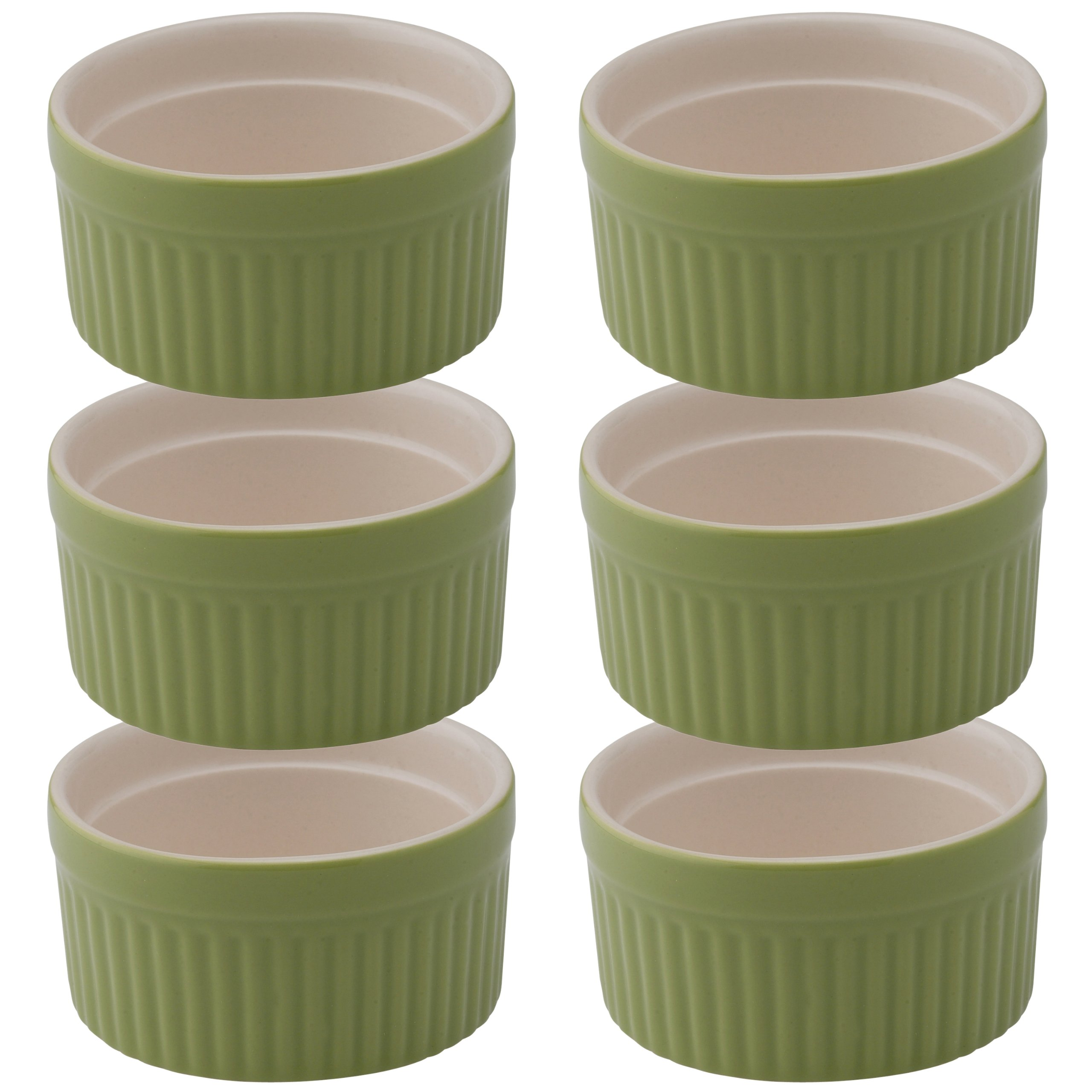 Mrs. Anderson's Baking Souffle, Ceramic Earthenware, Sage, Set of 6, 3.75-Inch, 6-Ounce Capacity