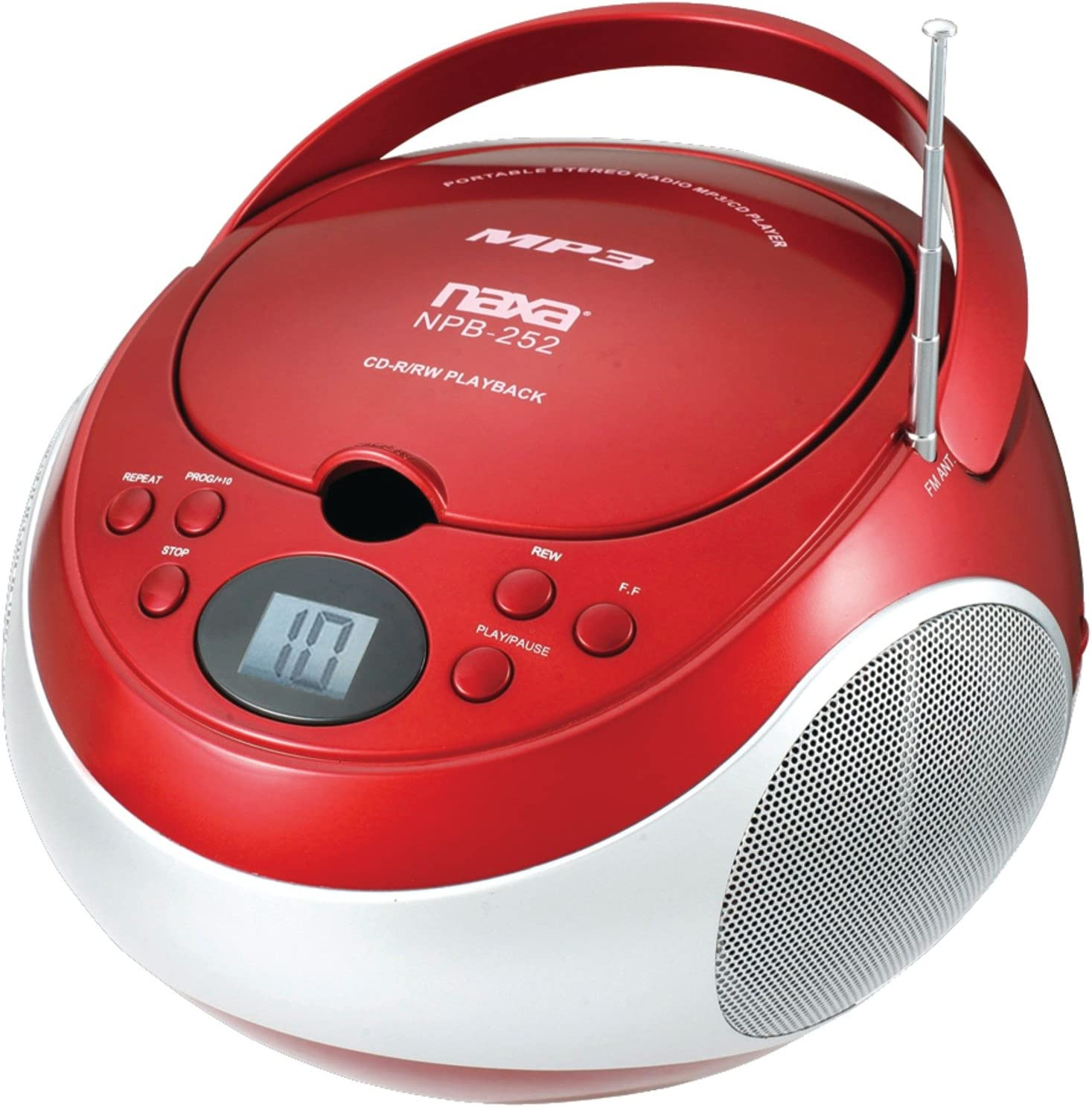 NAXA Electronics NPB-252 RD Portable MP3/CD Player with AM/FM Stereo Radio (Red)