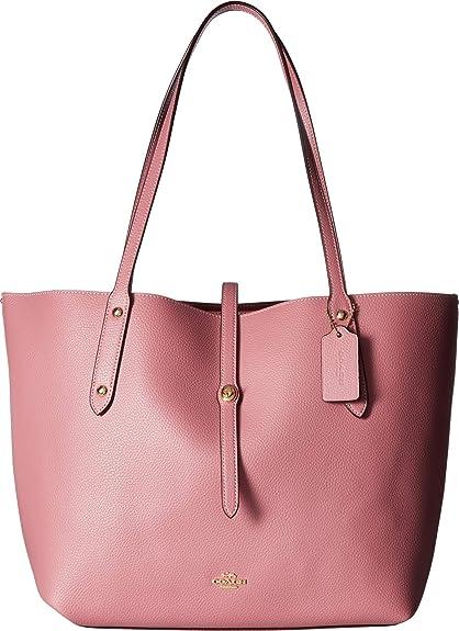 21b60110dd COACH Women's Polished Pebbled Leather Market Tote Li/Rose One Size ...