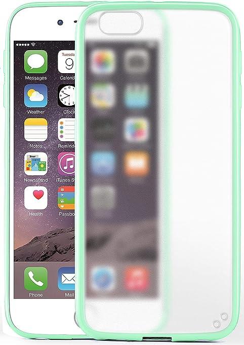 MoEx® Cover Opaca [Trasparente] Compatibile con iPhone 6S / iPhone 6   Bordi rialzati, Verde Acqua