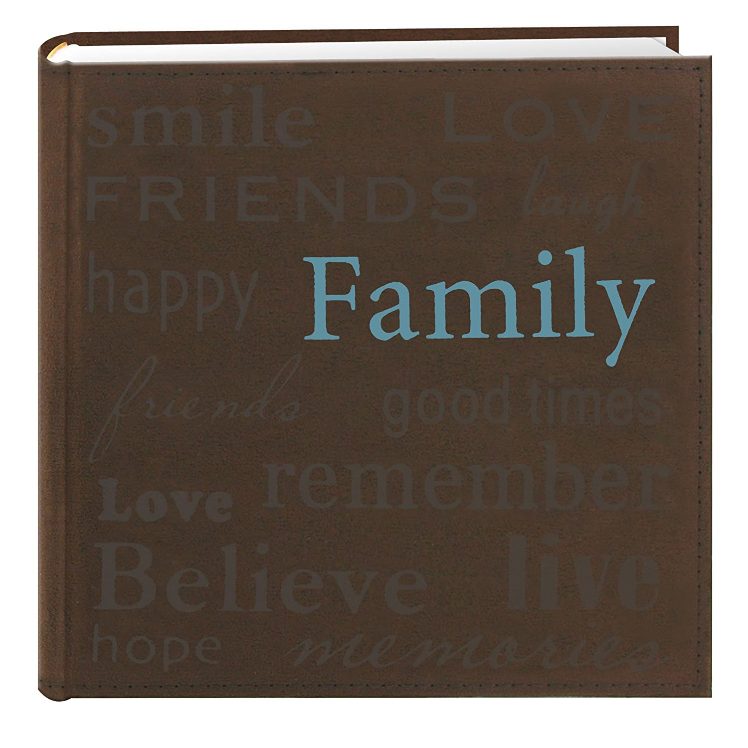 Pioneer Photo Albums TXT-200BNFamily Text Design Sewn Faux Suede Cover Photo Album, Brown