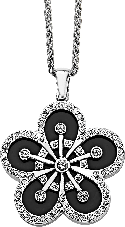 Ebony Enamel /& Crystal Anne Koplik Designs Women/'s Art Deco Pendant Necklace