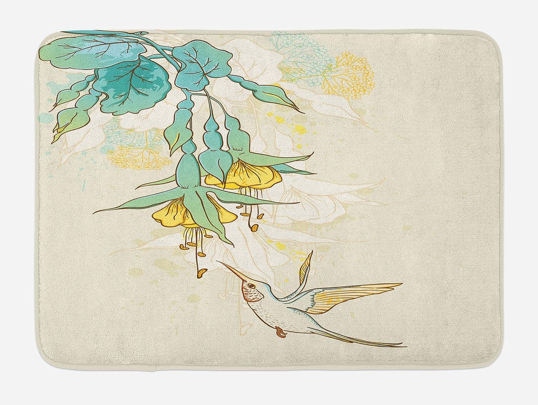 Ambesonne Hummingbird Bath Mat, Hummingbird and Tropical Flowers Summertime Exotic Plant Nature Art, Plush Bathroom Decor Mat with Non Slip Backing, 29.5